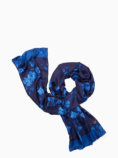 Kate Spade Hibiscus Silk Oblong Scarf, Navy