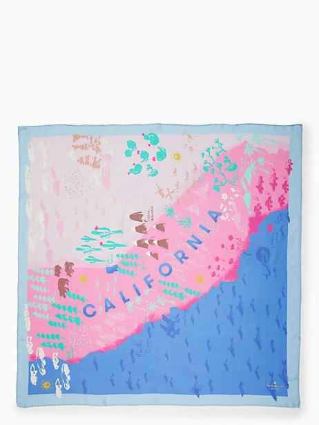 Kate Spade California Map Silk Square Scarf, Manatee