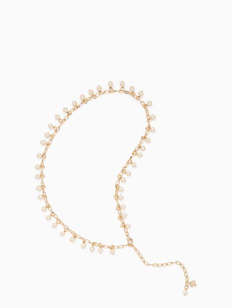 Kate Spade Pearl Chain Belt, Pale Pol Gold/Cream Pearl - Size M/L