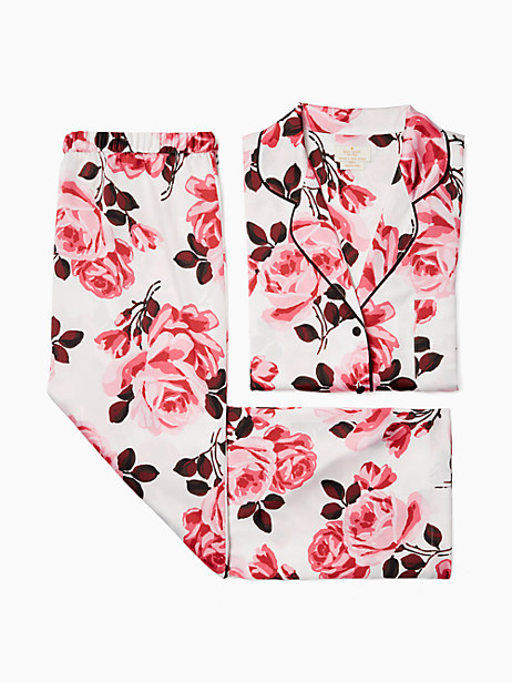 Kate Spade Printed Satin Pj Set, Rose Print - Size L