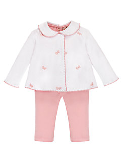 layette three-piece schiffli bow set by kate spade new york
