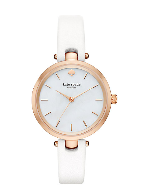 Kate Spade White And Rose Holland Watch, White/Rose Gold