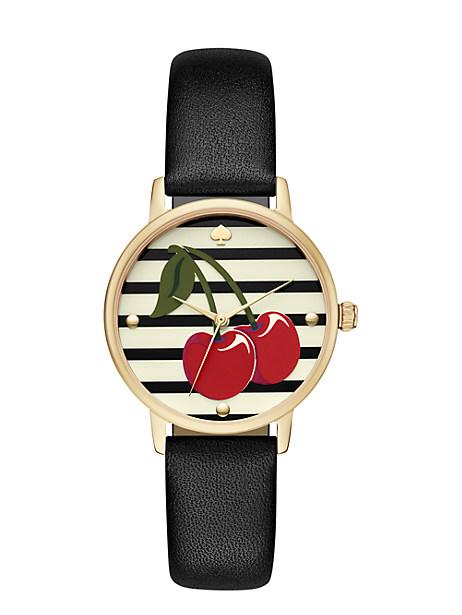Kate Spade Cherry Metro Watch, Gold/Black