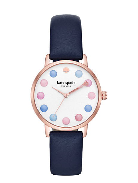 METRO NAVY LEATHER WATCH
