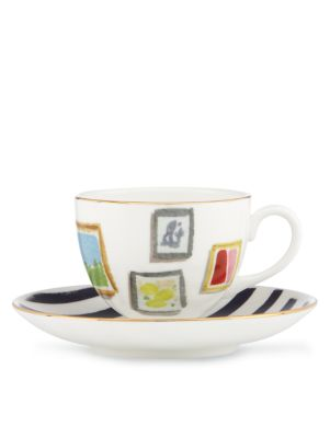 illustrated salan wall cup and saucer set