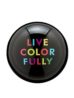 say the word ''live colorfully'' paper weight