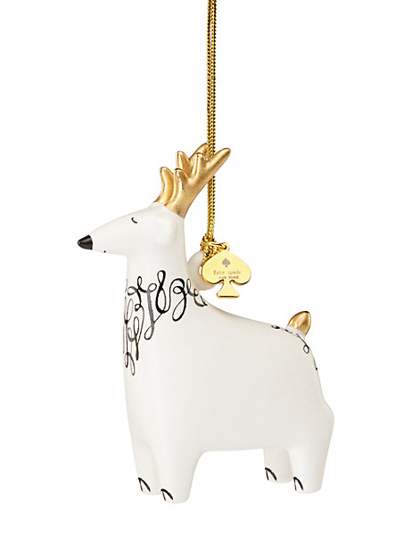 Kate Spade Woodland Park Reindeer Ornament, Ivory