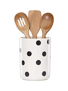 deco dot crock with 3 wooden utensils by kate spade new york