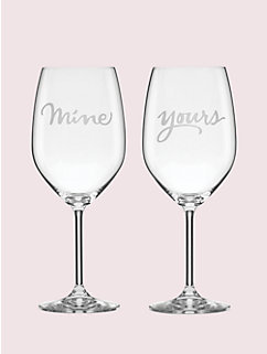 two of a kind yours and mine wine glasses by kate spade new york