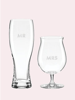 set of 2 darling point mr. and mrs. beer glasses by kate spade new york