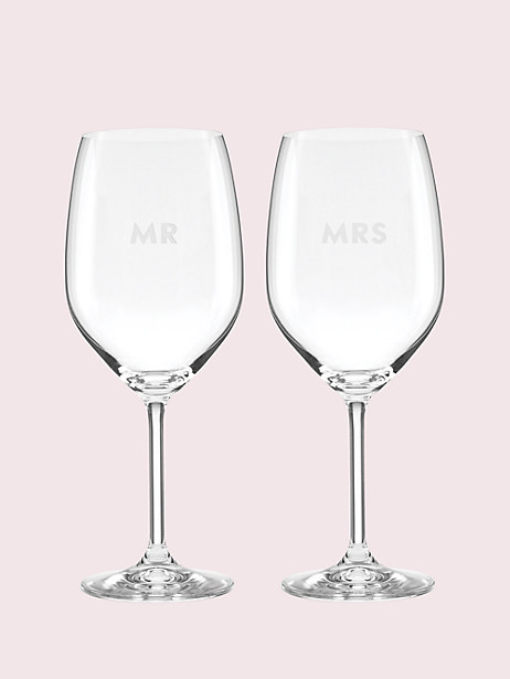 set of 2 darling point mr. and mrs. wine glasses by kate spade new york