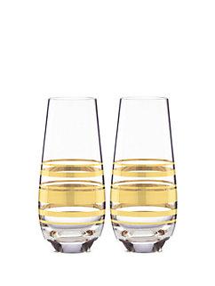 hampton street stripe stemless champagne glass set by kate spade new york