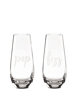 two of a kind pop fizz stemless champagne glass set by kate spade new york