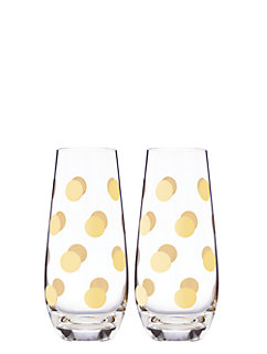 pearl place dot stemless champagne glass set by kate spade new york