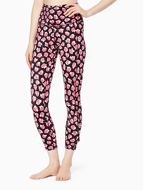 Kate Spade Cinched Side Bow High Waisted Capri Legging, Parisian Rose - Size L
