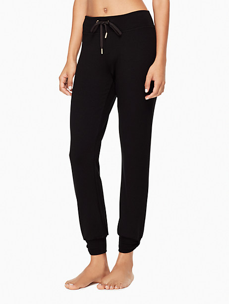 Kate Spade Modal Terry Relaxed Bow Long Sweatpants, Black - Size L