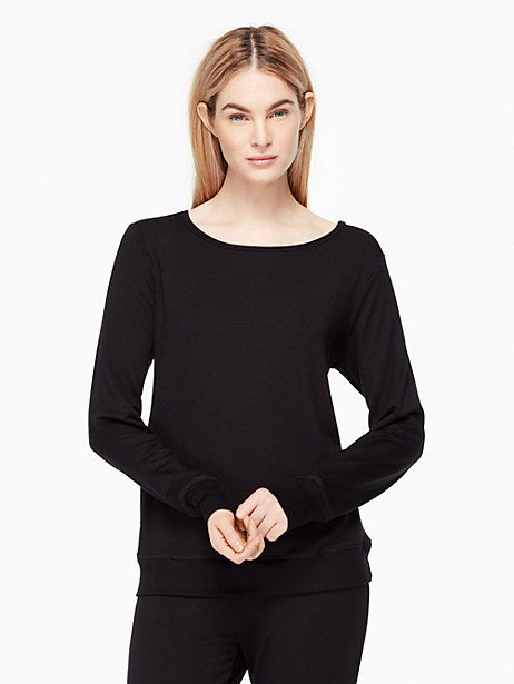 Kate Spade Modal Terry Bow Pullover, Black - Size L