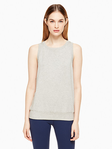 Kate Spade Modal Terry Bow Cut Out Sleeveless Sweatshirt, Light Heather Gray - Size L