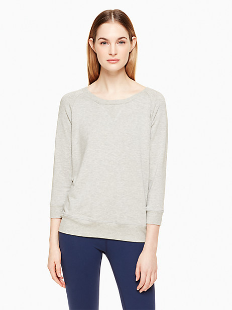 Kate Spade Modal Terry Bow Cut Out Sweatshirt, Light Heather Gray - Size L