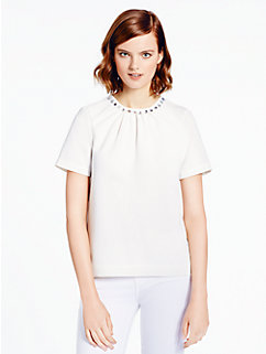 embellished crepe top by kate spade new york