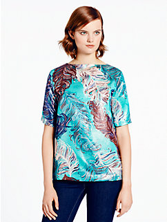 regal plumes platinum jacquard top by kate spade new york