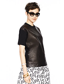 leather panel scuba sweater by kate spade new york