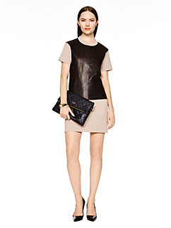 leather panel shift dress by kate spade new york