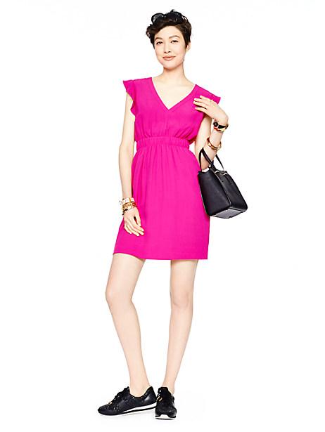 Kate Spade Fluid Crepe Frill Dress, Sweetheart Pink - Size 4