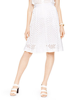 eyelet pleated a-line skirt by kate spade new york