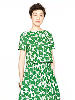 garden leaves poplin crop top by kate spade new york
