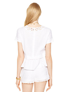 pleated peplum top by kate spade new york