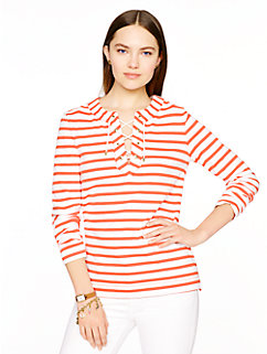 cotton jersey lace-up top by kate spade new york