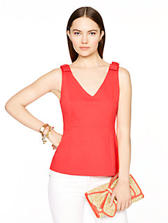 ponte sleeveless peplum top by kate spade new york