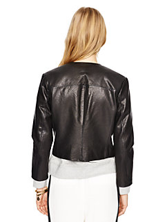 zip-up leather jacket by kate spade new york