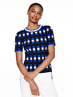 plaid short sleeve sweater by kate spade new york
