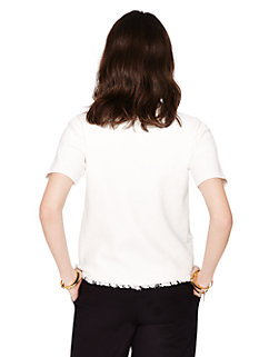 fringe short sleeve sweater by kate spade new york