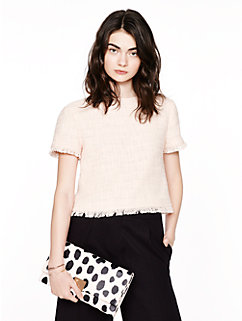 tweed fringe short sleeve top by kate spade new york