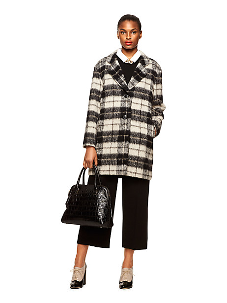 Kate Spade Woodland Check Bow Coat, Pumice - Size 0