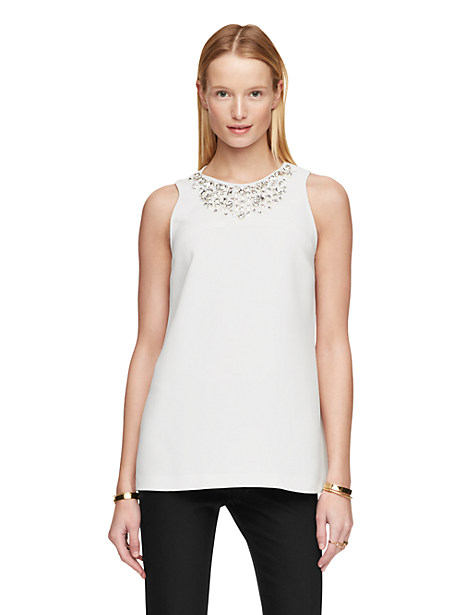 Kate Spade Embellished Sleeveless Top, Cream - Size 0