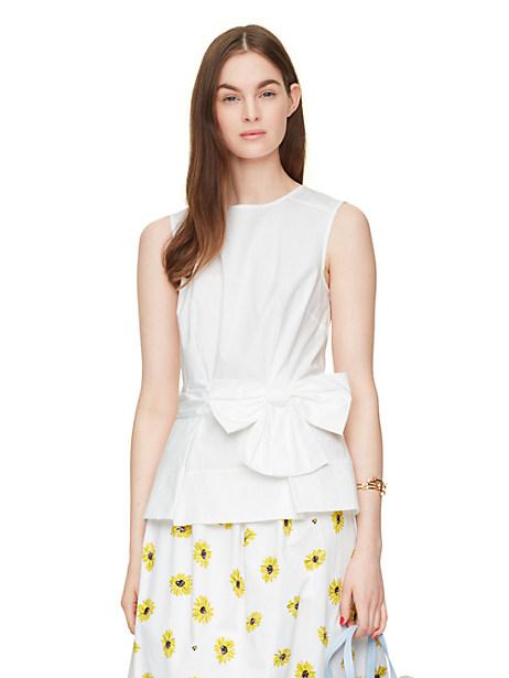 Kate Spade Bow Peplum Top, Fresh White - Size 6