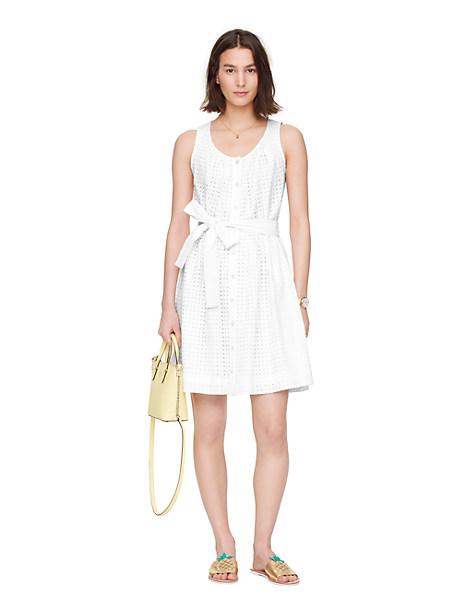 Kate Spade Dot Eyelet Tie Front Dress, Fresh White - Size L