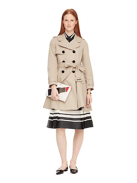 Kate Spade Classic Twill Trench Coat, French Beige - Size L