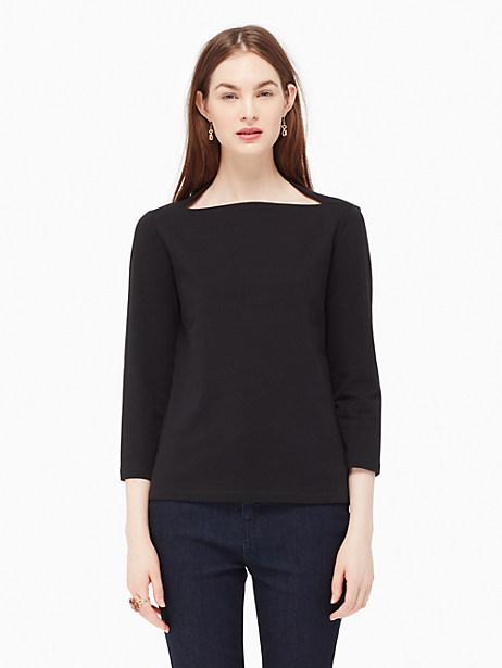 Kate Spade 3/4 Sleeve Everyday Tee, Black - Size M