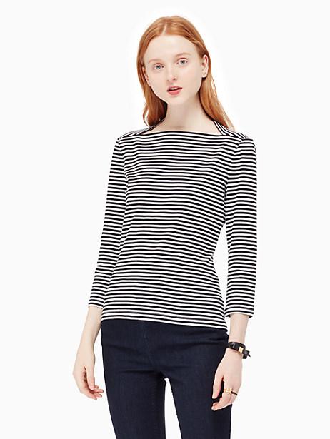 Kate Spade 3/4 Sleeve Stripe Everyday Tee, Black - Size L