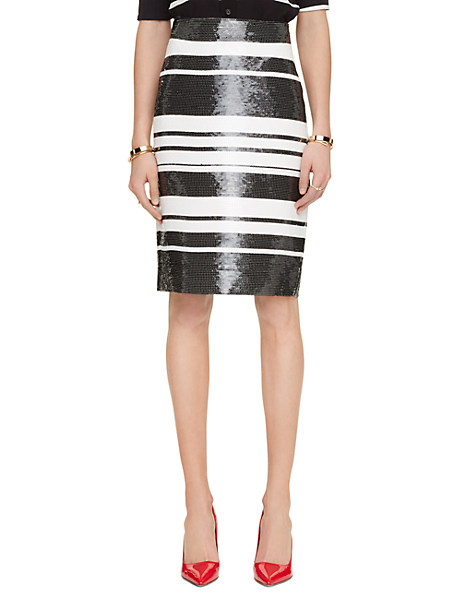 Kate Spade Sequin Cape Stripe Pencil Skirt, Black/Cream - Size 4