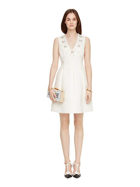 Kate Spade Embellished Structured Dress, Cream - Size 10