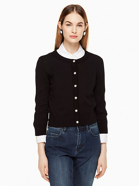 Kate Spade Jewel Button Cropped Cardigan, Black - Size M