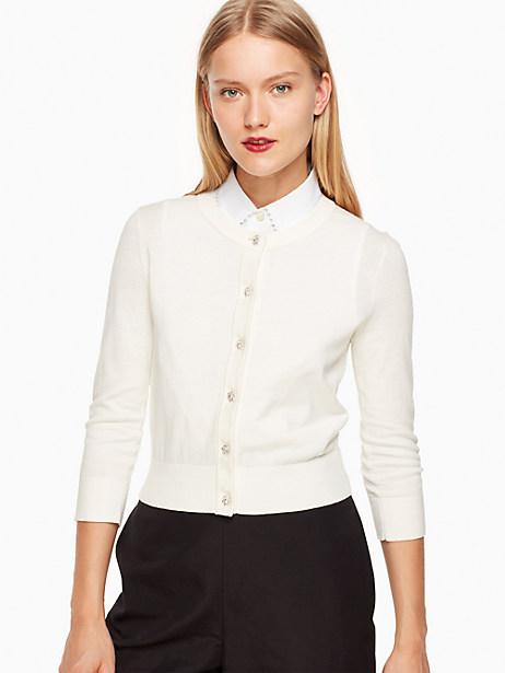 Kate Spade Jewel Button Cropped Cardigan, Cream - Size XXL