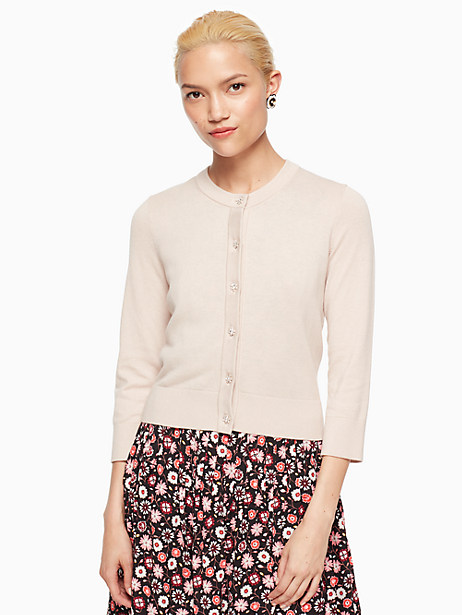 Kate Spade Jewel Button Cropped Cardigan, Rose Dew - Size L