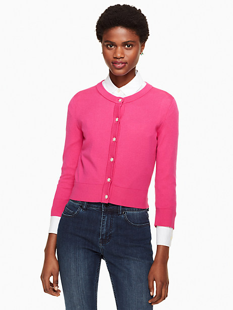 Kate Spade Jewel Button Cropped Cardigan, Berry - Size XL
